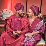 Checkout The Photo Of Adesua Etomi Holding Her Mother's Hand Tight As They Prayed Before Her Traditional Wedding