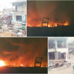 New Market Owerri set ablaze after being reportedly demolished by the Imo state govt (Photos)